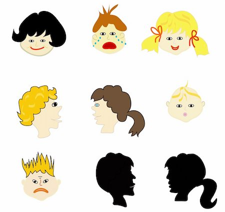 Collection of faces of different expressions, kids Stock Photo - Budget Royalty-Free & Subscription, Code: 400-05283882