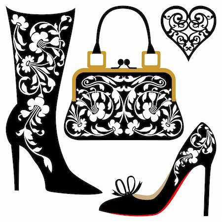 elakwasniewski (artist) - Silhouettes of women shoes and bag with ornaments, collection of fashion and lifestyle objects. Stock Photo - Budget Royalty-Free & Subscription, Code: 400-05294470