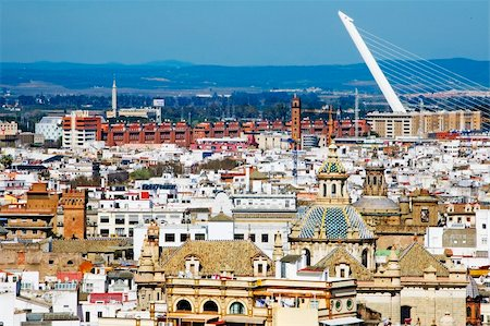 puentes - aerial view of Seville, Spain, with Almillo bridge in the background Stock Photo - Budget Royalty-Free & Subscription, Code: 400-05294580