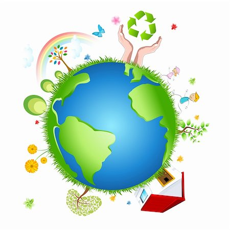 illustration of recycle globe on white background Stock Photo - Budget Royalty-Free & Subscription, Code: 400-05294876
