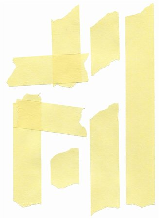 set of yellow paper masking tapes on white background Stock Photo - Budget Royalty-Free & Subscription, Code: 400-05295011