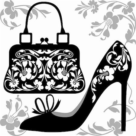 elakwasniewski (artist) - Black silhouettes of women shoe and bag with ornaments, on white background. Stock Photo - Budget Royalty-Free & Subscription, Code: 400-05295142