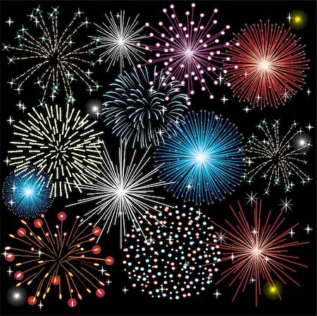 vector illustration of  fireworks on black background Stock Photo - Budget Royalty-Free & Subscription, Code: 400-05295229