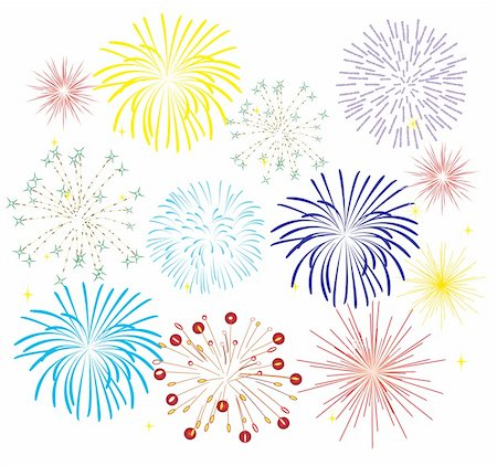 fireworks white background - vector illustration of fireworks on white background Stock Photo - Budget Royalty-Free & Subscription, Code: 400-05295230