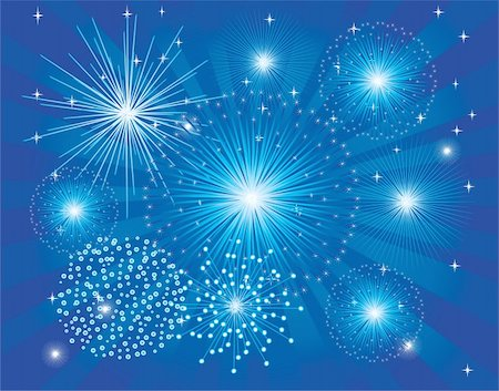 fireworks illustrations - vector illustration of blue fireworks on light burst background Stock Photo - Budget Royalty-Free & Subscription, Code: 400-05295233