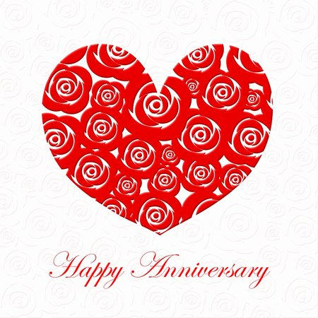 Happy Anniversary Day Heart with Red Roses on White Illustration Stock Photo - Budget Royalty-Free & Subscription, Code: 400-05295958
