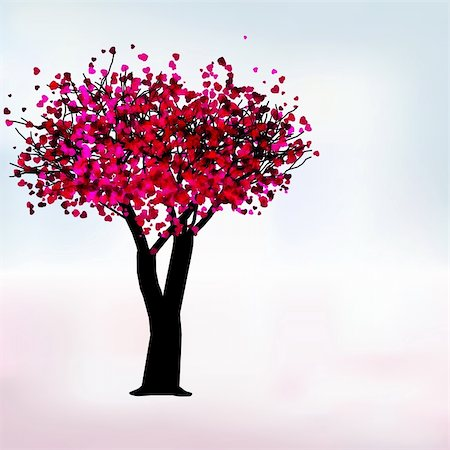 simsearch:400-04863562,k - Passion tree with hearts, romantic template card. EPS 8 vector file included Stock Photo - Budget Royalty-Free & Subscription, Code: 400-05296531