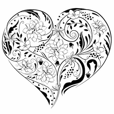 Black and white plants and flowers in heart shape Stock Photo - Budget Royalty-Free & Subscription, Code: 400-05296625