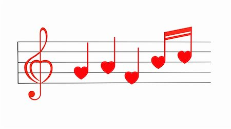 Red treble clef with notes stylized for Valentines isolated on white Stock Photo - Budget Royalty-Free & Subscription, Code: 400-05297279