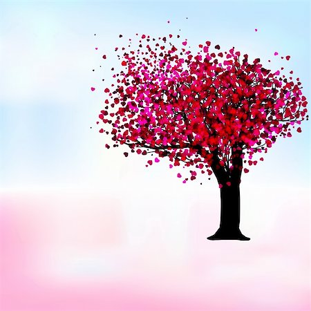 simsearch:400-04863562,k - Passion tree with hearts, romantic template card. EPS 8 vector file included Stock Photo - Budget Royalty-Free & Subscription, Code: 400-05297304