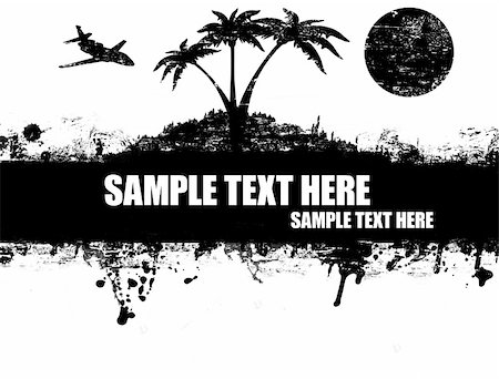 Grunge abstract tropical island, palms and aircraft, poster black and white,vector illustration Stock Photo - Budget Royalty-Free & Subscription, Code: 400-05297717