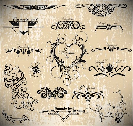 A vector set: calligraphic vintage design elements Stock Photo - Budget Royalty-Free & Subscription, Code: 400-05298052