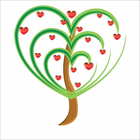 Vector apple tree with red fruits in the form of heart illustration Valentines Stock Photo - Budget Royalty-Free & Subscription, Code: 400-05299514