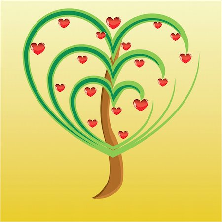 Vector apple tree with red fruits in the form of heart illustration Valentines Stock Photo - Budget Royalty-Free & Subscription, Code: 400-05299516