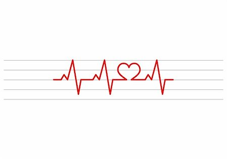 stave - heart shape electrocardiogram vector on stave background Stock Photo - Budget Royalty-Free & Subscription, Code: 400-05290109