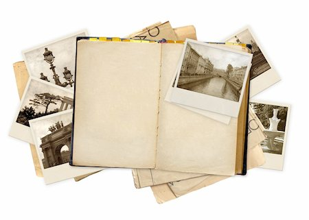 Grunge background with old notebook and photos Stock Photo - Budget Royalty-Free & Subscription, Code: 400-05290756