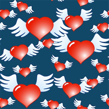 fly heart - Valentine's day dark blue abstract background of red hearts with wings. Seamless pattern. Vector illustration. Stock Photo - Budget Royalty-Free & Subscription, Code: 400-05292748
