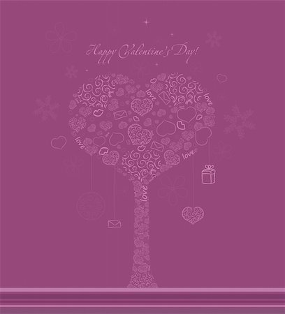 Valentines pink vector background with tree, hearts and snowflakes Stock Photo - Budget Royalty-Free & Subscription, Code: 400-05292795