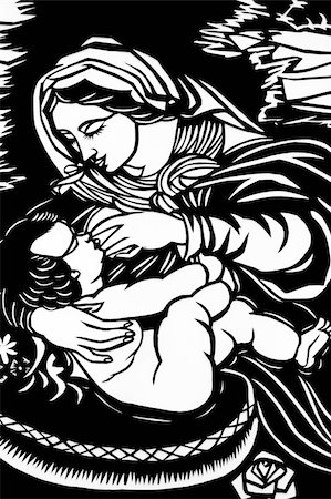 Paper-cutting of Maria feeding an infant in black-and-white Stock Photo - Budget Royalty-Free & Subscription, Code: 400-05292801
