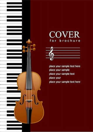 Cover for brochure with Piano with violin images. EPS 10 Vector illustration Stock Photo - Budget Royalty-Free & Subscription, Code: 400-05293002