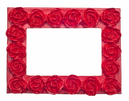 Red Rose Modern Vibrant Colored Empty Frame Isolated on White with a Clipping Path. Stock Photo - Budget Royalty-Free & Subscription, Code: 400-05304281