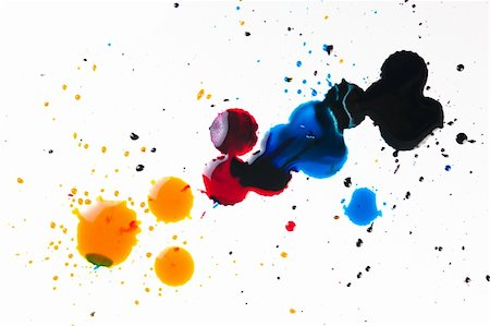 dripping colour art - colorful ink blot on white background Stock Photo - Budget Royalty-Free & Subscription, Code: 400-05304382