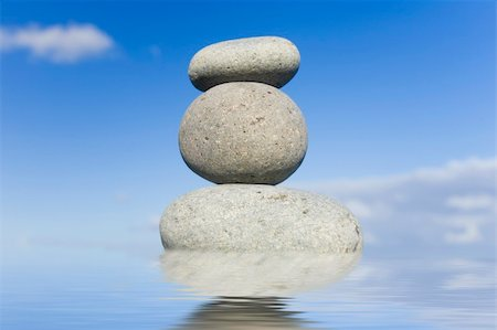 spanishalex (artist) - Stack of zen pebbles reflected in still water with a blue sky behind. Stock Photo - Budget Royalty-Free & Subscription, Code: 400-05304860