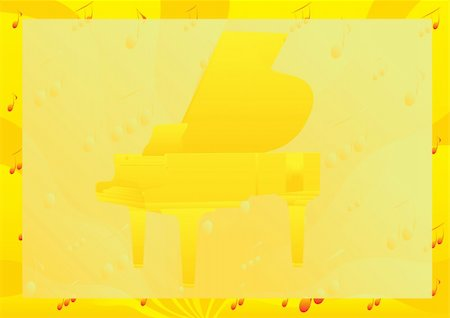 sheet music background - Abstract yellow background of the musical signs and symbols depicting the piano Stock Photo - Budget Royalty-Free & Subscription, Code: 400-05305394