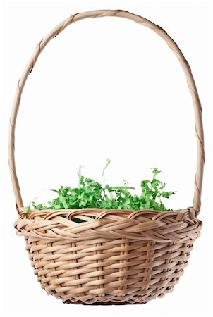Empty Easter Basket with Green Grass Isolated on White with a Clipping Path. Stock Photo - Budget Royalty-Free & Subscription, Code: 400-05308050