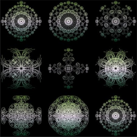 simsearch:400-04744132,k - Illustration of decorative elements set on a black background. Stock Photo - Budget Royalty-Free & Subscription, Code: 400-05308936