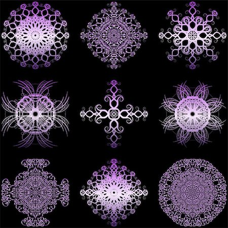 simsearch:400-04744132,k - Illustration of decorative elements set on a black background. Stock Photo - Budget Royalty-Free & Subscription, Code: 400-05308937