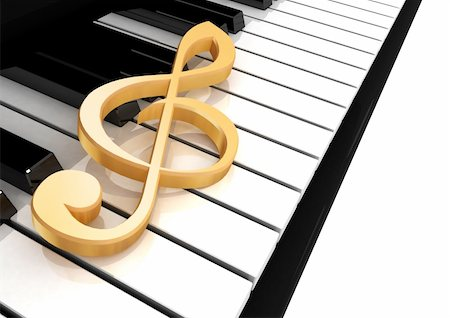 quarter note - treble clef is on the piano keys Stock Photo - Budget Royalty-Free & Subscription, Code: 400-05300687