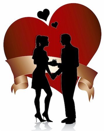 simsearch:400-04863562,k - A man proposing marriage to  woman with gift box.Couple silhouette with  heart and ribbon isolated on white background Stock Photo - Budget Royalty-Free & Subscription, Code: 400-05301534