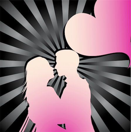 Romantic couple silhouette with sunburst background and heart Stock Photo - Budget Royalty-Free & Subscription, Code: 400-05301873