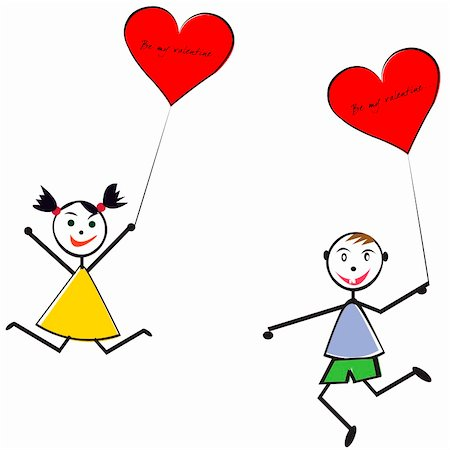 Boy and girl with heart baloons, Valentine's Day greeting card Stock Photo - Budget Royalty-Free & Subscription, Code: 400-05301934