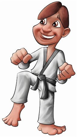 young karate kid preparing to punch and kick Stock Photo - Budget Royalty-Free & Subscription, Code: 400-05314016