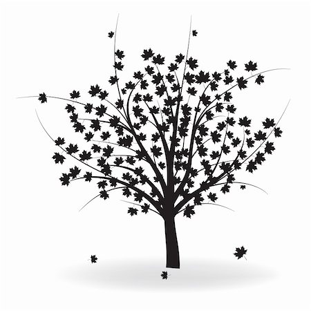 pretty in black clipart - Silhouette of beautiful autumn tree for your design. Vector illustration.Vector version of this image also available in my portfolio. Stock Photo - Budget Royalty-Free & Subscription, Code: 400-05314561