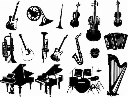 silhouette musical symbols - Music instrument vector Stock Photo - Budget Royalty-Free & Subscription, Code: 400-05314623