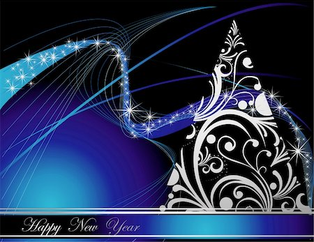 silver box - Silver  and blue Happy New Year  background Stock Photo - Budget Royalty-Free & Subscription, Code: 400-05315774