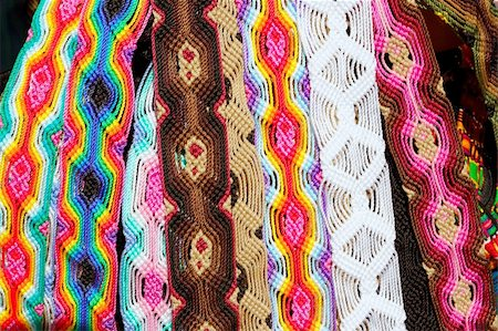 Chiapas Mexico handcrafts belts and bracelets colorful Stock Photo - Budget Royalty-Free & Subscription, Code: 400-05316091