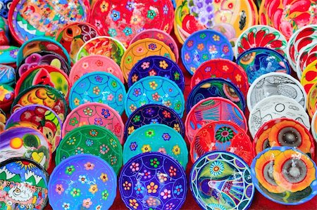 clay ceramic plates from Mexico colorful traditional handcraft Stock Photo - Budget Royalty-Free & Subscription, Code: 400-05318698