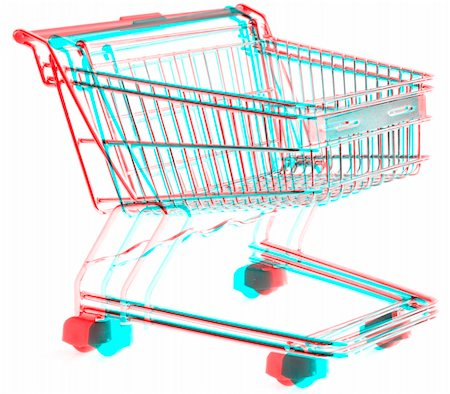 empty shopping cart - 3D Anaglyph of shopping trolley isolated on white background, for viewing stereo glasses are needed Stock Photo - Budget Royalty-Free & Subscription, Code: 400-05310663
