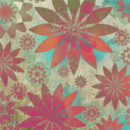 designer backgrounds - Vintage Floral Grunge Scrapbook Background in indian style Stock Photo - Budget Royalty-Free & Subscription, Code: 400-05311295