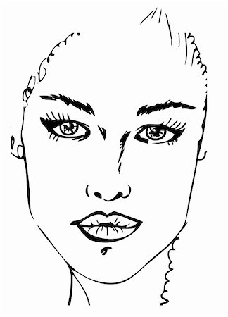 Woman Face tattoo design black and white Stock Photo - Budget Royalty-Free & Subscription, Code: 400-05311301