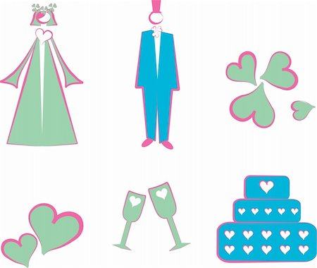 simsearch:400-04872199,k - Isolated Wedding decoration logo, icons couple, cake, hearts, flower, glass Stock Photo - Budget Royalty-Free & Subscription, Code: 400-05311416