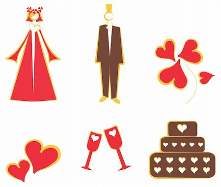 simsearch:400-04872199,k - Isolated Wedding decoration logo, icons couple, cake, hearts, flower, glass Stock Photo - Budget Royalty-Free & Subscription, Code: 400-05311417