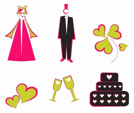simsearch:400-04872199,k - Isolated Wedding decoration logo, icons couple, cake, hearts, flower, glass Stock Photo - Budget Royalty-Free & Subscription, Code: 400-05311418