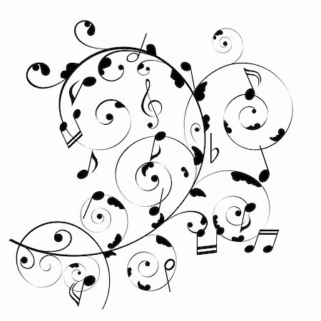 Musical notes on swirly stave Stock Photo - Budget Royalty-Free & Subscription, Code: 400-05312223