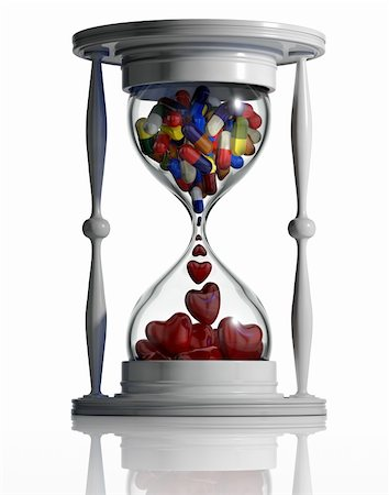 sand clock - Sand watch with medical pills converting to hearts inside isolated on white background. Medicine continue lifetime conceptual image. Time heals. 3d Stock Photo - Budget Royalty-Free & Subscription, Code: 400-05312404