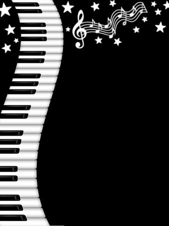 Wavy Piano Keyboard Black and White Background Illustration Stock Photo - Budget Royalty-Free & Subscription, Code: 400-05312635